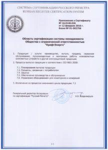 Приложение к сертификату № 16.0140.026